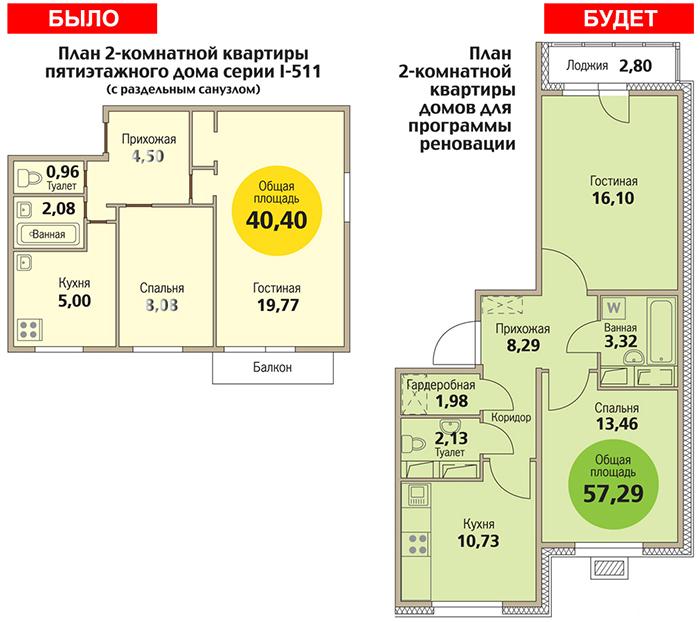 2-комнатная квартира по реновации, вариант 1