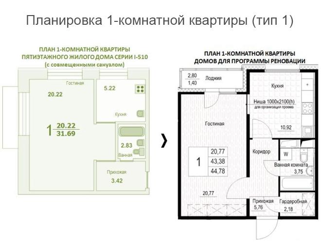 Планировка однушки по реновации тип 1