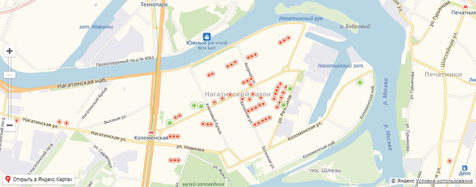 Карта реновации района Нагатинский Затон