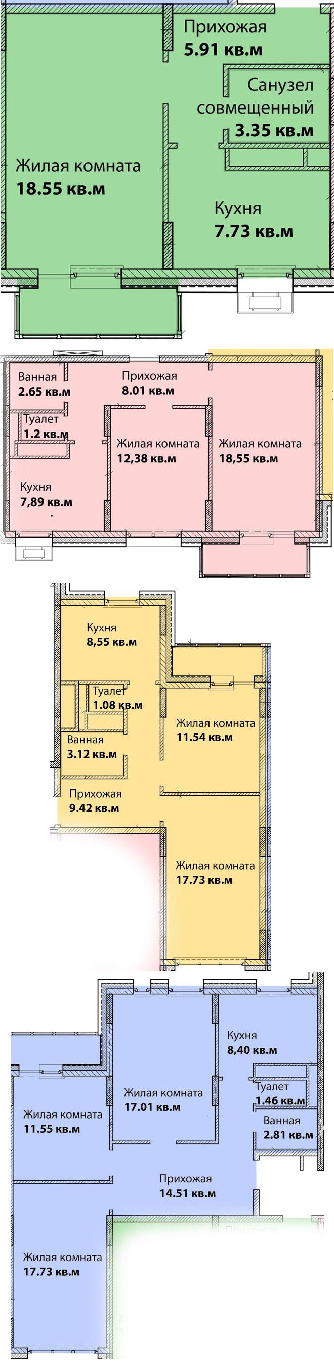 Подробный план квартир, Проспект Вернадского, 58
