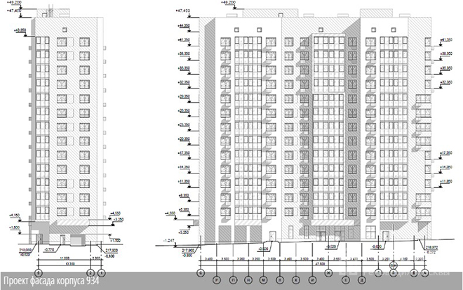 Проект фасада корпуса 934 по реновации в Зеленограде