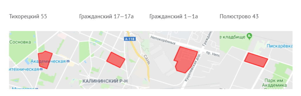 Карта реновации в Калининском районе СПб