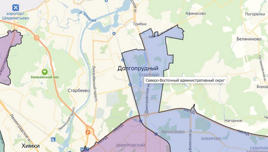 Район Северный на карте Москвы