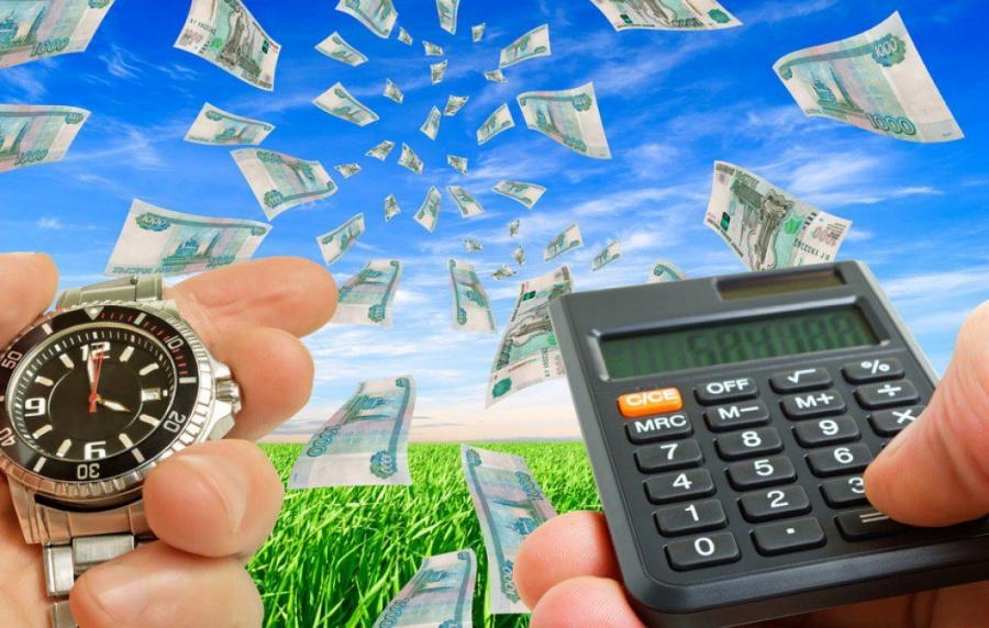 Деньги на ветер, калькулятор, часы