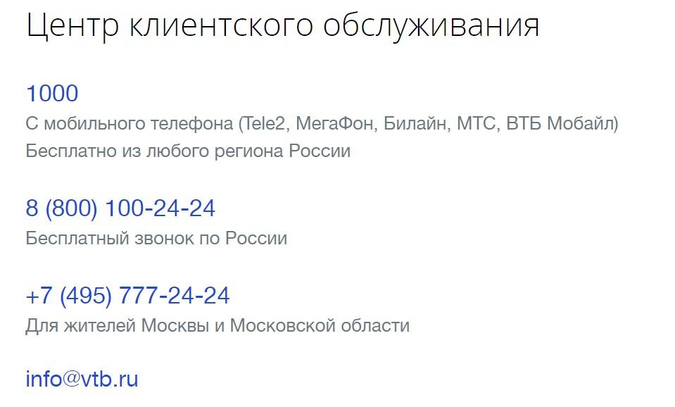 Центр обслуживания ВТБ контакты