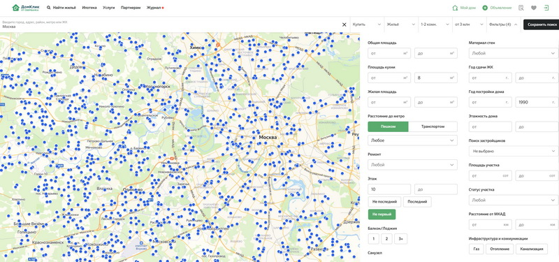 Карта Москвы Сбербанк - квартиры в продаже