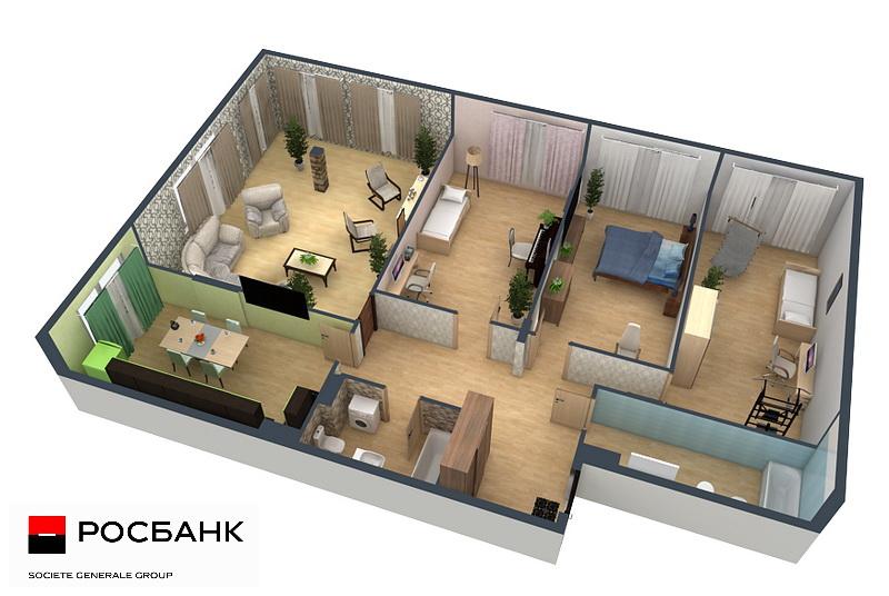 планировка 4-комнатной квартиры, росбанк