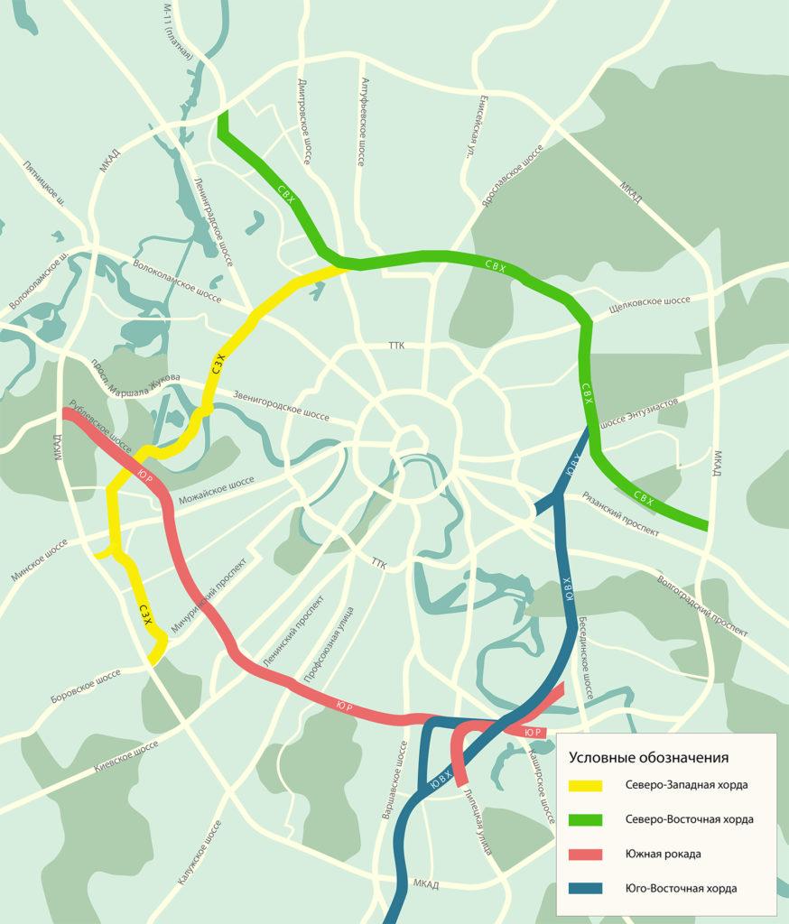 Карта Хорд Москвы