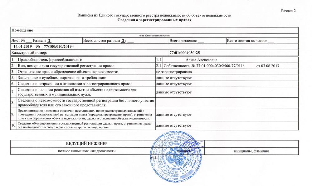Выписка из ЕГРН Москва образец